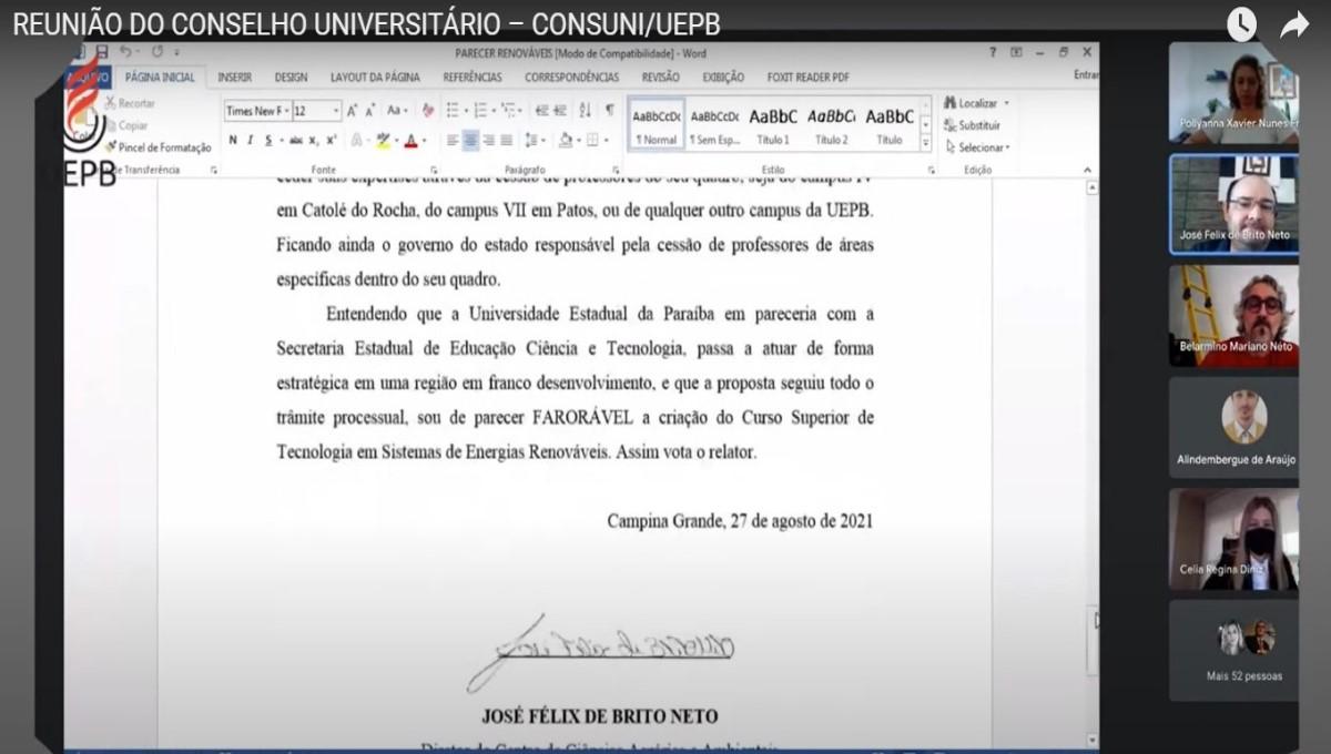 Conselho Universitário aprova criação de curso superior Tecnólogo em Energias Renováveis