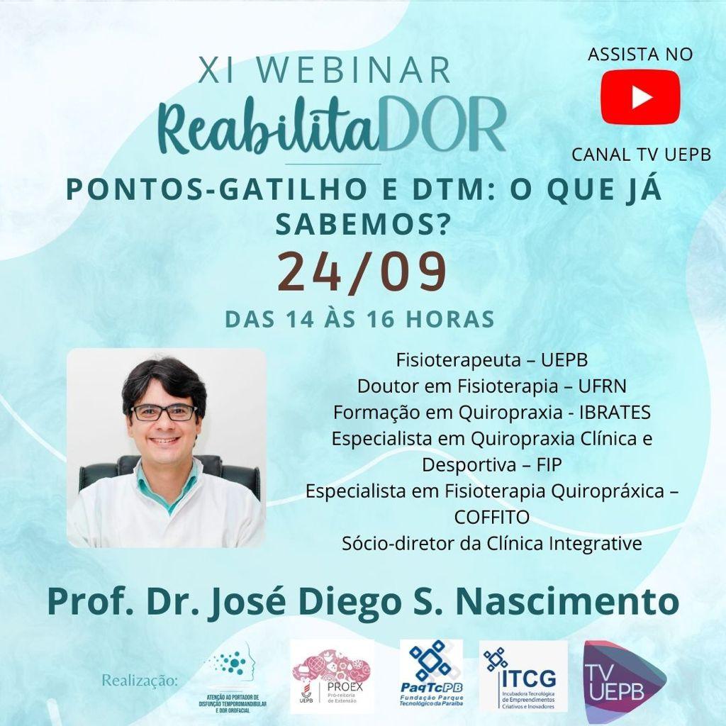 """Programa de Extensão promove 11º Webinário ReabilitaDOR com abordagem sobre """"Pontos-Gatilho e DTM"""""""